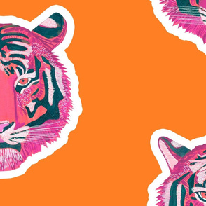 Fierce & Fragile pink tiger white outline - orange bg