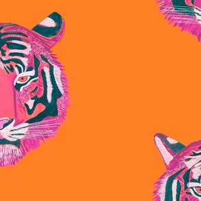 Fierce & Fragile pink tiger - orange bg