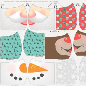 Cut and Sew Child Christmas Face Mask - Santa, Reindeer, Snowman