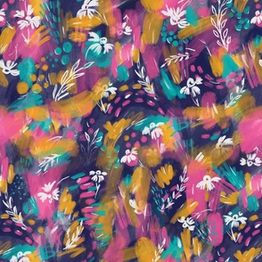 Abstract Painting with Florals