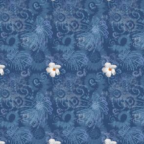 Dark Blue Tie Dye with White Flowers