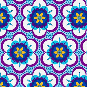 Bold floral - blue and maroon