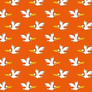 pelicans - white on orange small scale
