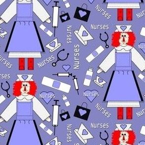 Nurses Raggedy Anne Doll Fabric 3 New