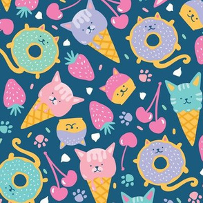 Cat  Ice cream and Donut Dessert Dark