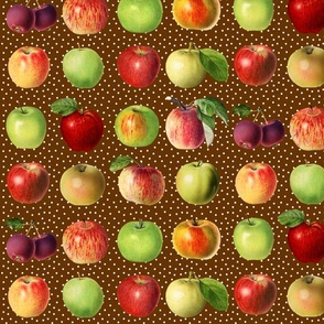 Apples and dots on brown ground