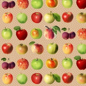 Apples and dots on beige ground