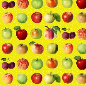 Apples and dots on yellow ground