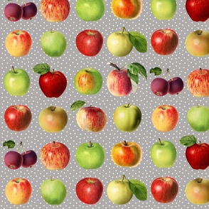 Apples and dots on grey ground