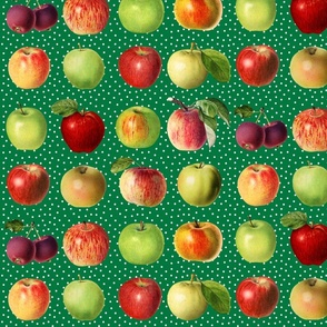 Apples and dots on green ground
