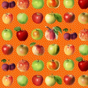 Apples and dots on orange ground