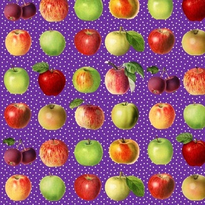 Apples and dots on purple ground