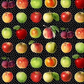 Apples and dots on black ground