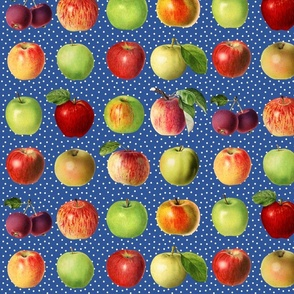 Apples and dots on blue ground