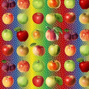 Apples and dots on rainbow ground