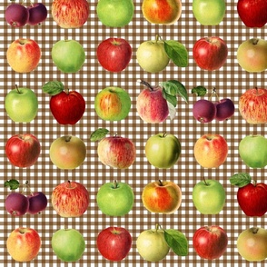 Apples on brown gingham