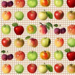 Apples on beige gingham