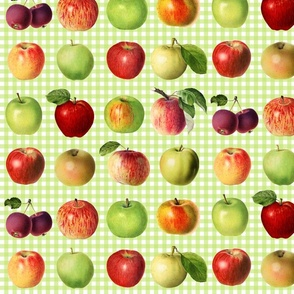 Apples on bright green gingham