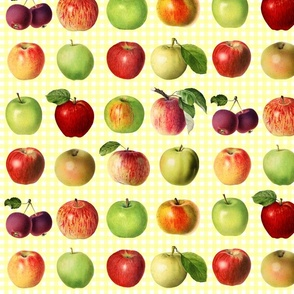 Apples on bright yellow gingham