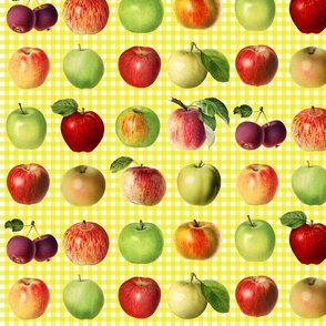 Apples on yellow gingham