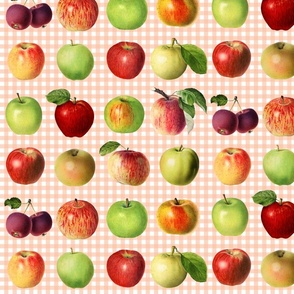 Apples on peach gingham