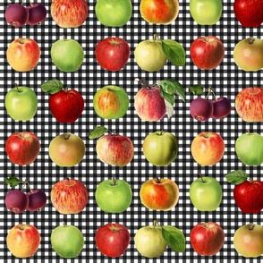Apples on black gingham
