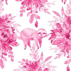 Pink Watercolor Floral with Sleepy Sloths