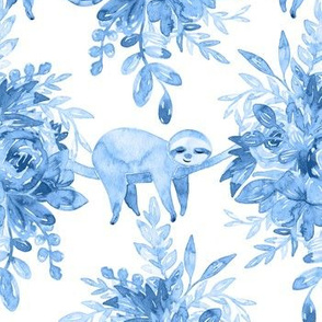 Blue Watercolor Floral with Sleepy Sloths