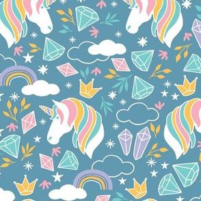 Whimsical Rainbow Unicorn Dusty Blue
