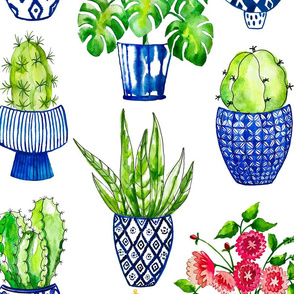 Chinoiserie Cactus Spoonflower Repeat