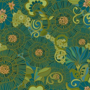 one inch RETRO FLORAL bLUES