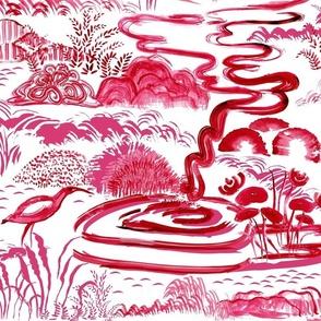 chinoiserie magenta red