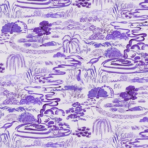 Modern Toile  lavender purple