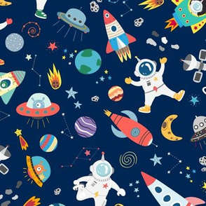 Astronauts In Outer Space UFO Rockets