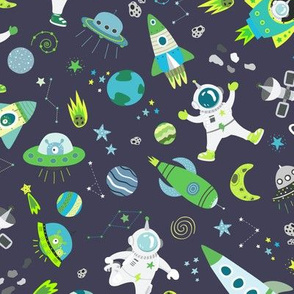 Astronauts In Outer Space UFO Rockets Green