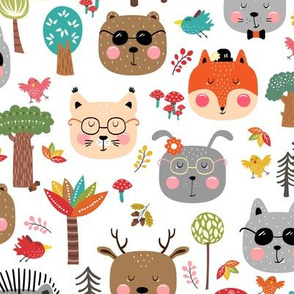 woodland animals hipster fall forest