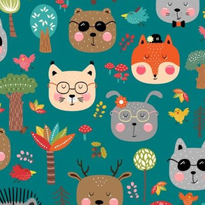 woodland animals hipster  fall forest green