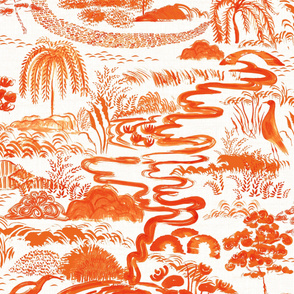 Toile Modern Chinoiserie in  tangerine