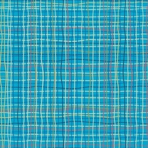 Blue Turquoise Squiggles Plaid Squiggles & wavy lines-medium