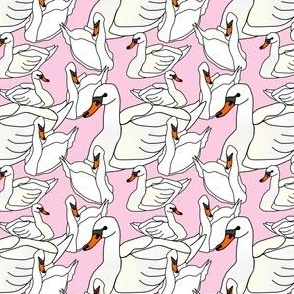 Baby Swan Girl Fabric Design - Pink