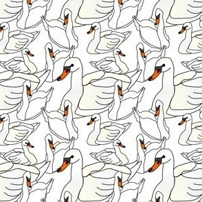 White Swans Wedding and Baby Fabric Design