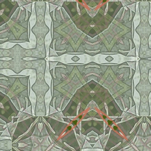 """Abstract Green Tiled Pattern with Bronze/Coral Highlights 22"""""""