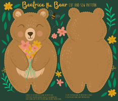 Beatrice the Bear cut and sew plush pattern