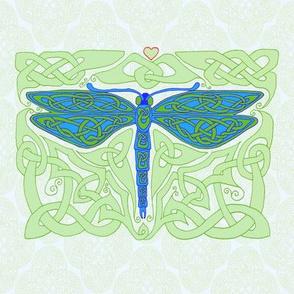 Dragonfly 4 on celt rococo blue & green