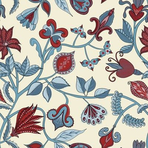 Indian Floral.Red & Blue.