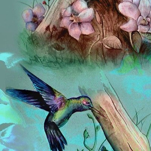 hummingbird painting aqua