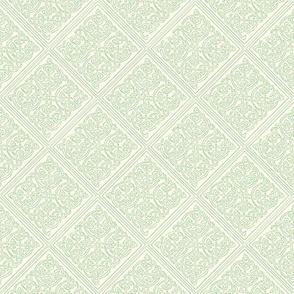 Celtic knot tile 1 cream on green