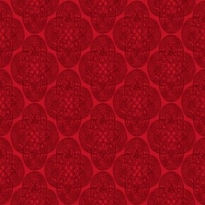 Celtic Rococo dark red on red