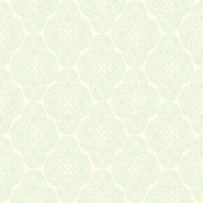 Celtic Rococo in cream on green