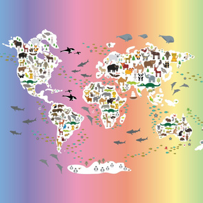 Cartoon animal world map for children and kids, back to schhool. Animals from all over the world white continents islands on rainbow background